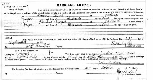 Marriage License - Adams/Harper
