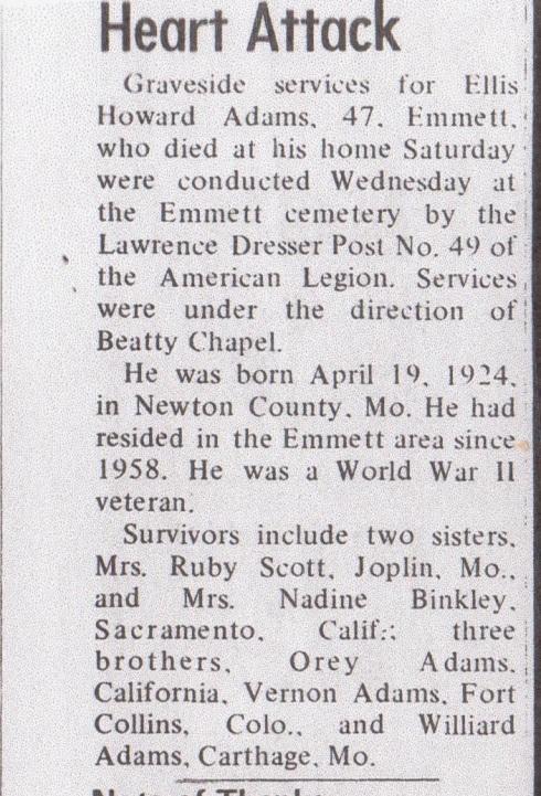 Ellis' Obituary in Emmett Messenger-Index August 1971