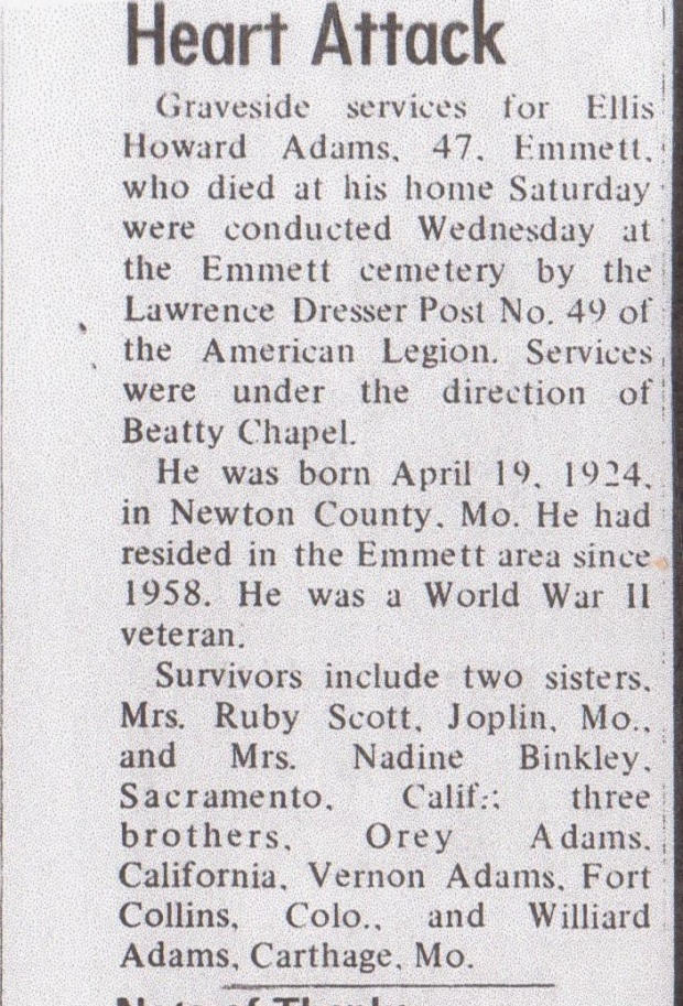 Ellis' Obituary in Emmett Messenger-Index August 1971