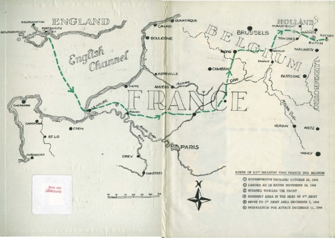 Route of 310th through France and Belgium