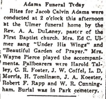 Jacob Adams Funeral Notice
