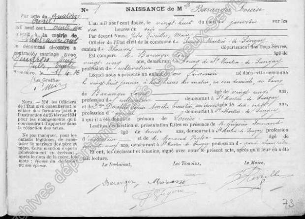 Birth of Louise Baranger. Archives départementales des Deux-Sèvres
