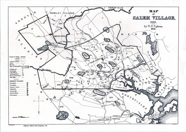 Salem Village map of 1692, at the start of the Salem witch trials, as created in 1866 from historical records by Charles W. Upham, Salem Witchcraft, With an Account of Salem Village and a History of Opinions on Witchcraft and Kindred Spirits (1867).