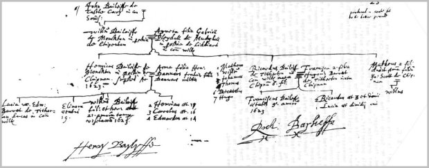 Original Heralds Wiltshire Visitation notes - 1623. Image from the website of Bryant G Bayliffe