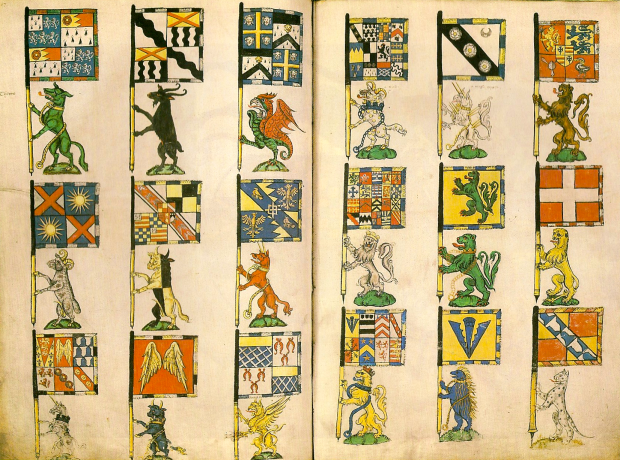 Heraldic Banners of the Knights of the Garter mid-16th Century. From The Oxford Guide to Heraldry