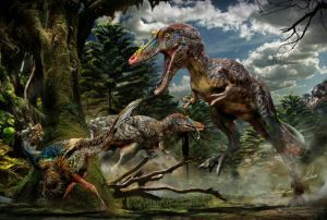 Qianzhousaurus on the right. Picture from National Geographic, image by Chuang Zhao.