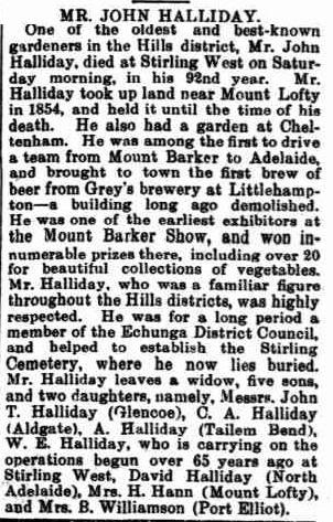 Obituary taken from The Mount Barker Courier and Onkaparinga and Gumeracha Advertiser, Friday 15 August 1919