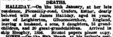 Hester Squires death announcement, The Advertiser, Adelaide, Tuesday 21 March 1905