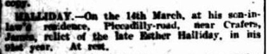 James Halliday's death announcement, The Advertiser, Wednesday 17 March 1909