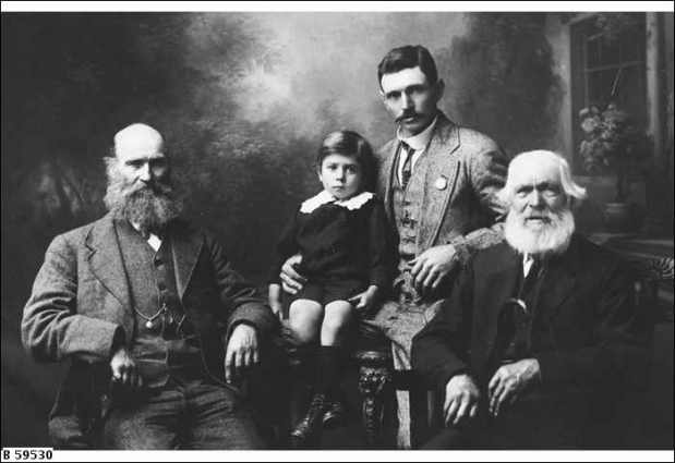 Men of the Halliday family. Left-right: Charles Arthur, 59 years; Maurice Vernon, 5 years; Herbert Arthur, 35 years; John, 90 years.