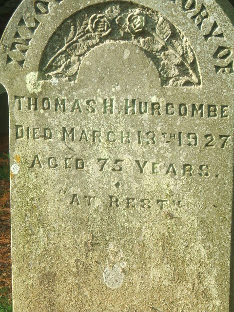 Gravestone of Thomas Halliday Hurcombe