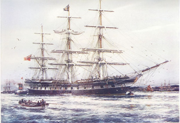 "LA HOGUE - From a painting by Jack Spurling illustrated in ""SAIL: The Romance of the Clipper Ships"""